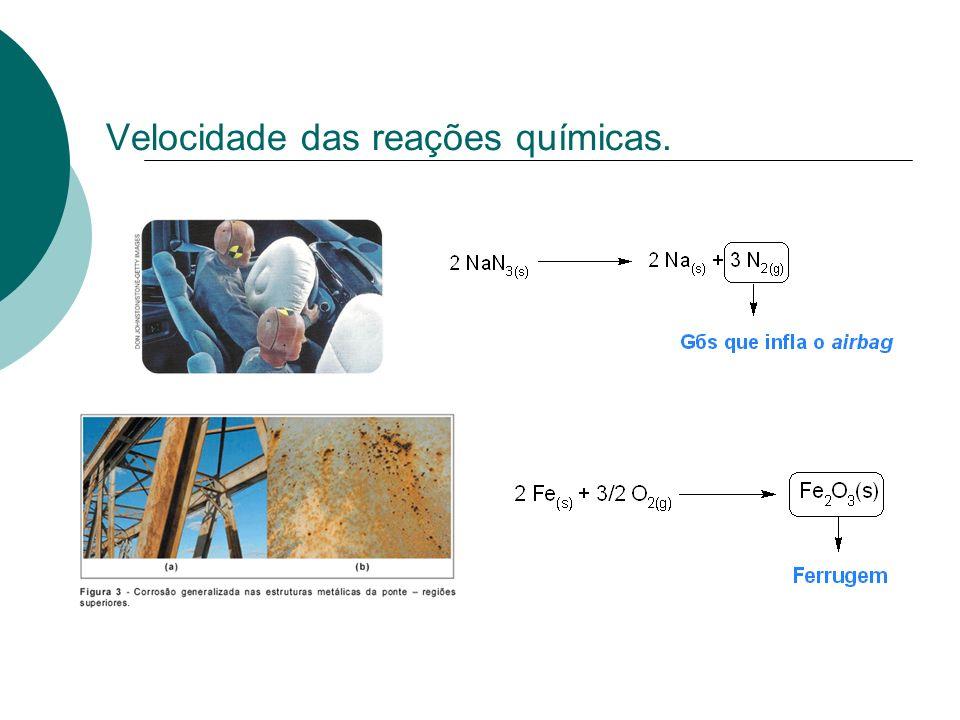Lei de Guldberg-Waage ou Lei da velocidade Considere a reação genérica: a A + b B c C + d D V = k [A] a [B] b V = velocidade da reação; k = constante da reação; [A]; [B] = concentrações de A e B em mols/L; a = coeficiente de A;ordem da reação em relação a A; b= coeficiente de B; ordem da reação em relação a B; a + b = ordem global da reação.