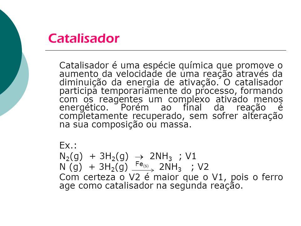 Catalisador Catalisador é uma espécie química que promove o aumento da velocidade de uma reação através da diminuição da energia de ativação. O catali