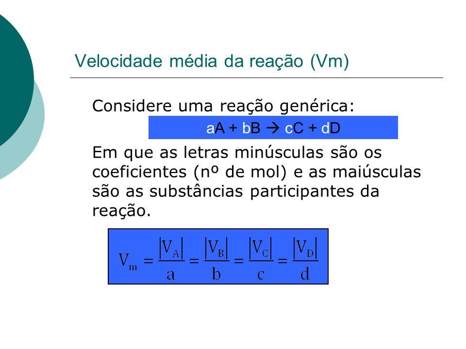 Velocidade média da reação (Vm) Considere uma reação genérica: Em que as letras minúsculas são os coeficientes (nº de mol) e as maiúsculas são as subs