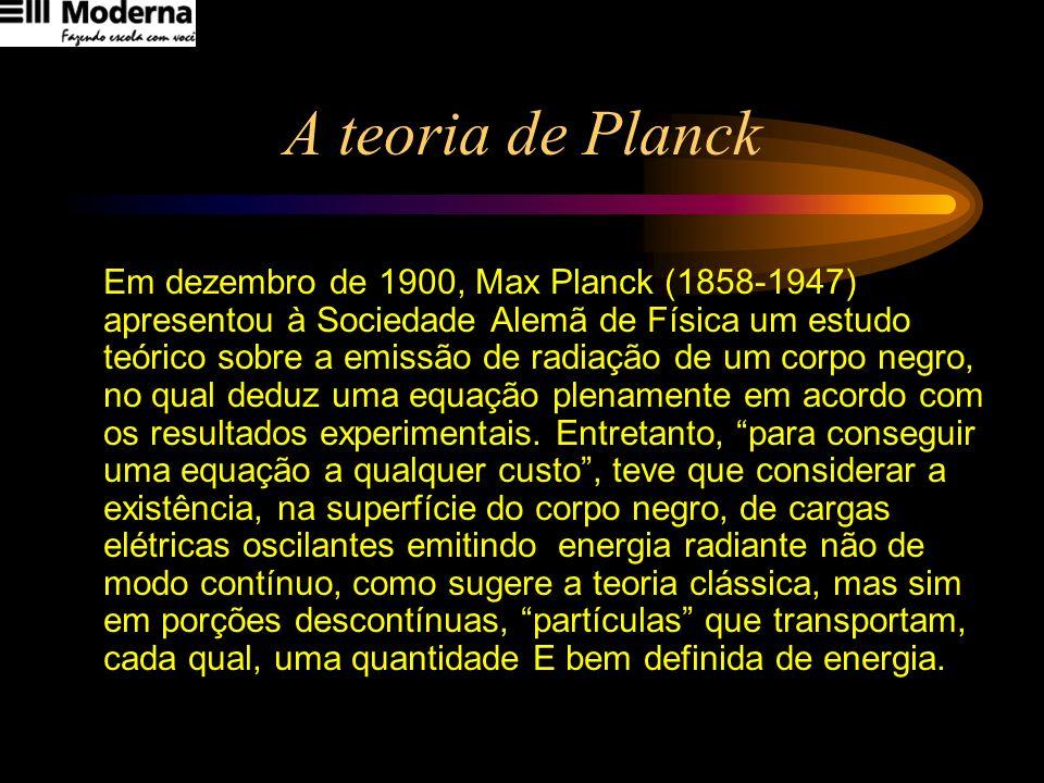 A teoria de Planck Em dezembro de 1900, Max Planck (1858-1947) apresentou à Sociedade Alemã de Física um estudo teórico sobre a emissão de radiação de
