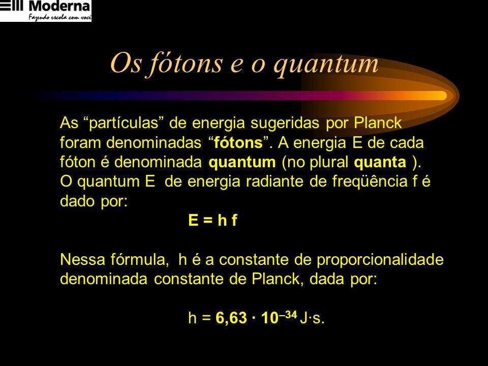 Os fótons e o quantum As partículas de energia sugeridas por Planck foram denominadas fótons. A energia E de cada fóton é denominada quantum (no plura