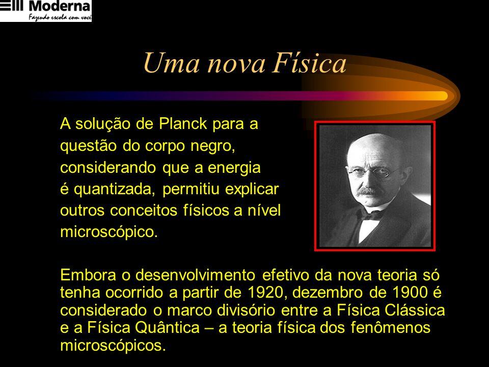 Uma nova Física A solução de Planck para a questão do corpo negro, considerando que a energia é quantizada, permitiu explicar outros conceitos físicos