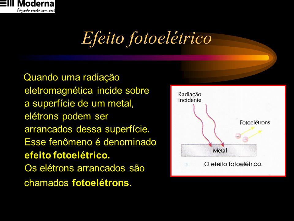 Efeito fotoelétrico Quando uma radiação eletromagnética incide sobre a superfície de um metal, elétrons podem ser arrancados dessa superfície. Esse fe