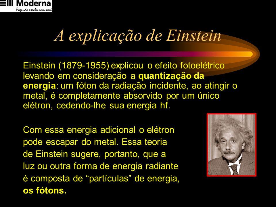 A explicação de Einstein Einstein (1879-1955) explicou o efeito fotoelétrico levando em consideração a quantização da energia: um fóton da radiação in