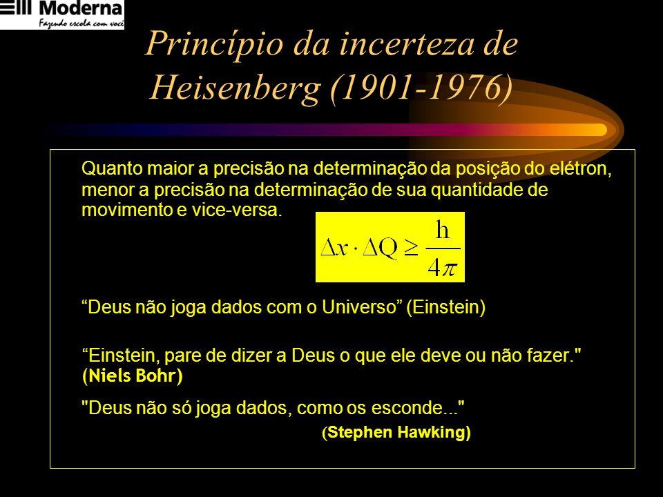 Princípio da incerteza de Heisenberg (1901-1976) Quanto maior a precisão na determinação da posição do elétron, menor a precisão na determinação de su