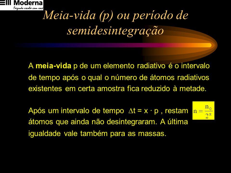 Meia-vida (p) ou período de semidesintegração A meia-vida p de um elemento radiativo é o intervalo de tempo após o qual o número de átomos radiativos