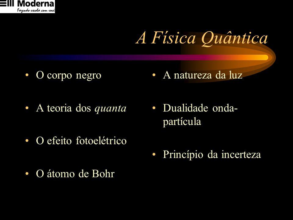 O corpo negro A teoria dos quanta O efeito fotoelétrico O átomo de Bohr A natureza da luz Dualidade onda- partícula Princípio da incerteza