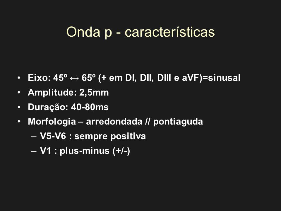 Onda p - características Eixo: 45º 65º (+ em DI, DII, DIII e aVF)=sinusal Amplitude: 2,5mm Duração: 40-80ms Morfologia – arredondada // pontiaguda –V5