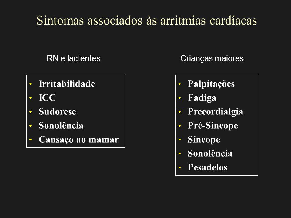 Sintomas associados às arritmias cardíacas Irritabilidade ICC Sudorese Sonolência Cansaço ao mamar Palpitações Fadiga Precordialgia Pré-Síncope Síncop