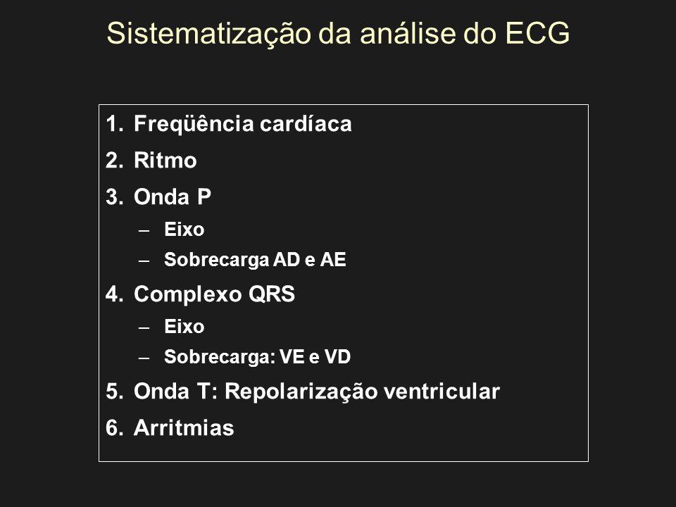 Sistematização da análise do ECG 1.Freqüência cardíaca 2.Ritmo 3.Onda P –Eixo –Sobrecarga AD e AE 4.Complexo QRS –Eixo –Sobrecarga: VE e VD 5.Onda T: