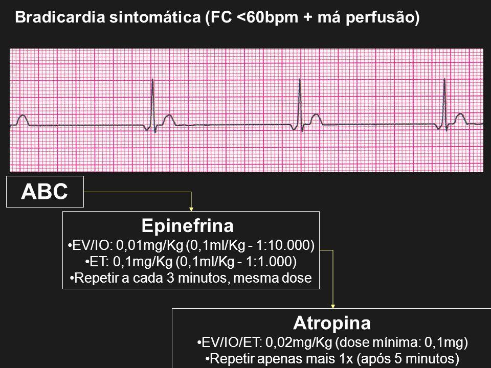 Bradicardia sintomática (FC <60bpm + má perfusão) ABC Epinefrina EV/IO: 0,01mg/Kg (0,1ml/Kg - 1:10.000) ET: 0,1mg/Kg (0,1ml/Kg - 1:1.000) Repetir a ca