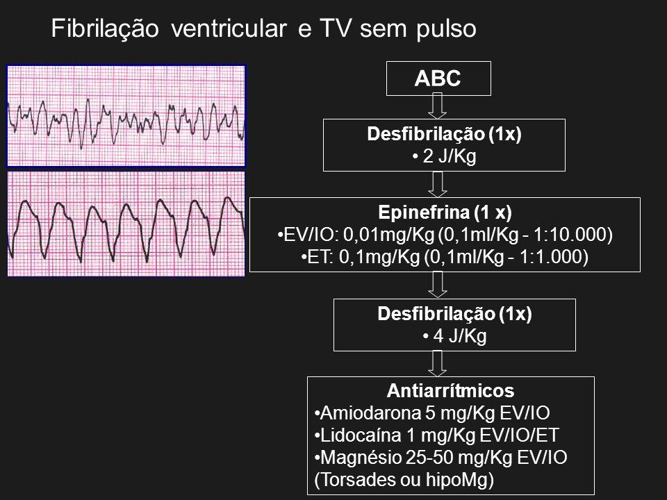 Fibrilação ventricular e TV sem pulso ABC Desfibrilação (1x) 2 J/Kg Epinefrina (1 x) EV/IO: 0,01mg/Kg (0,1ml/Kg - 1:10.000) ET: 0,1mg/Kg (0,1ml/Kg - 1