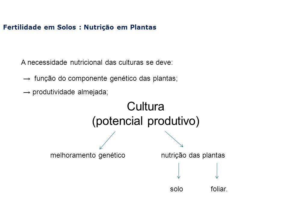 Fertilidade em Solos : Nutrição em Plantas A necessidade nutricional das culturas se deve: função do componente genético das plantas; produtividade al