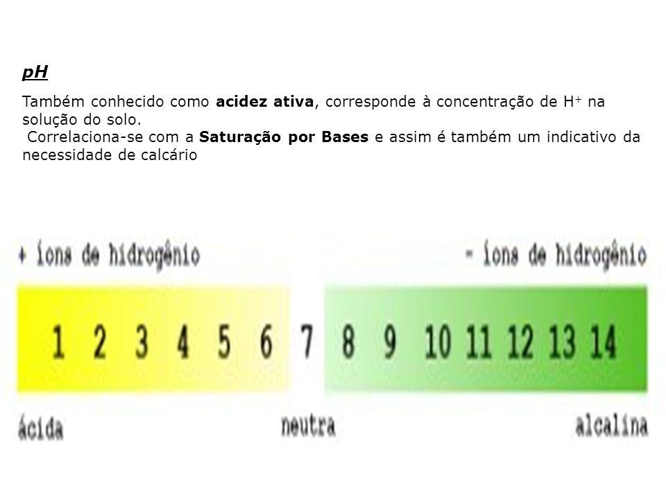 pH Também conhecido como acidez ativa, corresponde à concentração de H + na solução do solo. Correlaciona-se com a Saturação por Bases e assim é també