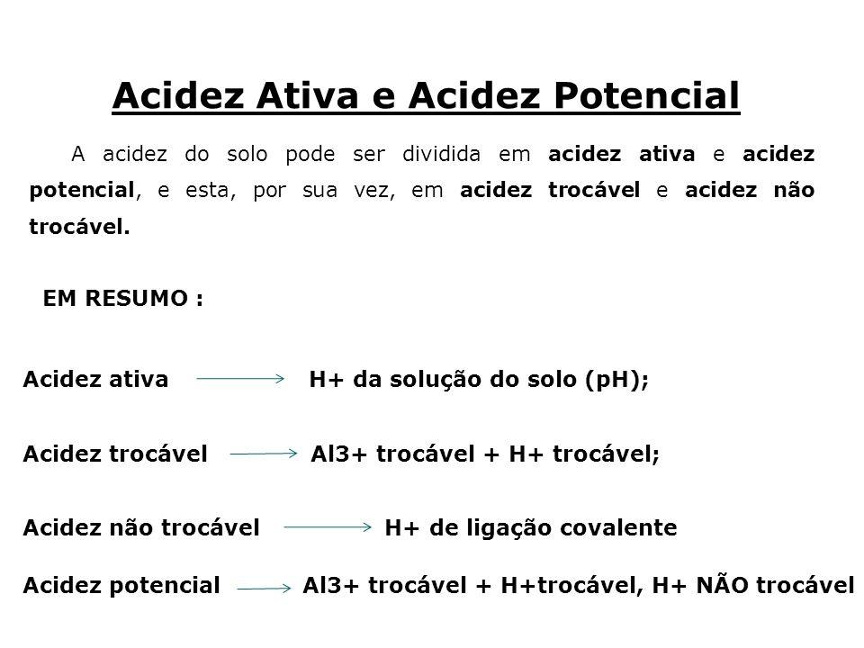 A acidez do solo pode ser dividida em acidez ativa e acidez potencial, e esta, por sua vez, em acidez trocável e acidez não trocável. Acidez Ativa e A