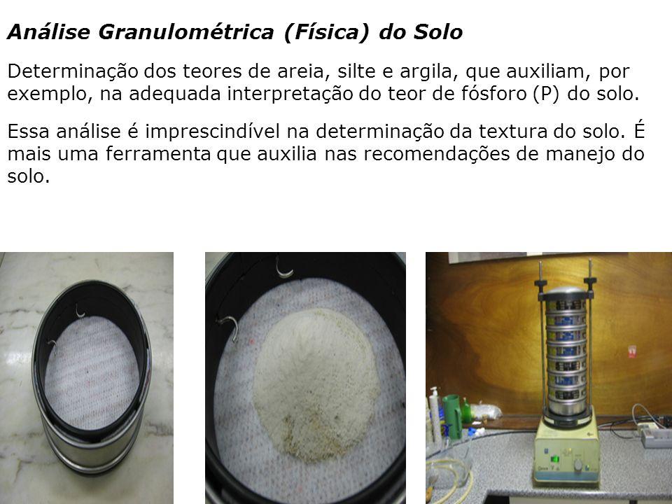 Análise Granulométrica (Física) do Solo Determinação dos teores de areia, silte e argila, que auxiliam, por exemplo, na adequada interpretação do teor