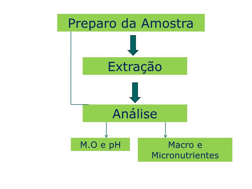 Análise Preparo da Amostra Extração M.O e pH Macro e Micronutrientes