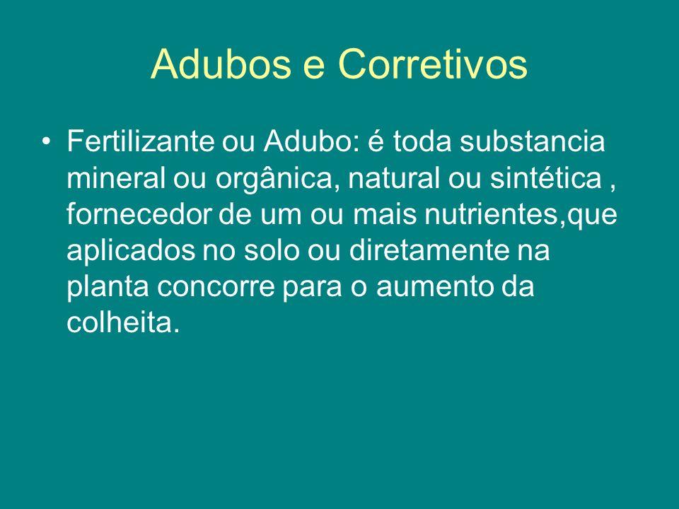 Fertilizante ou Adubo: é toda substancia mineral ou orgânica, natural ou sintética, fornecedor de um ou mais nutrientes,que aplicados no solo ou diret