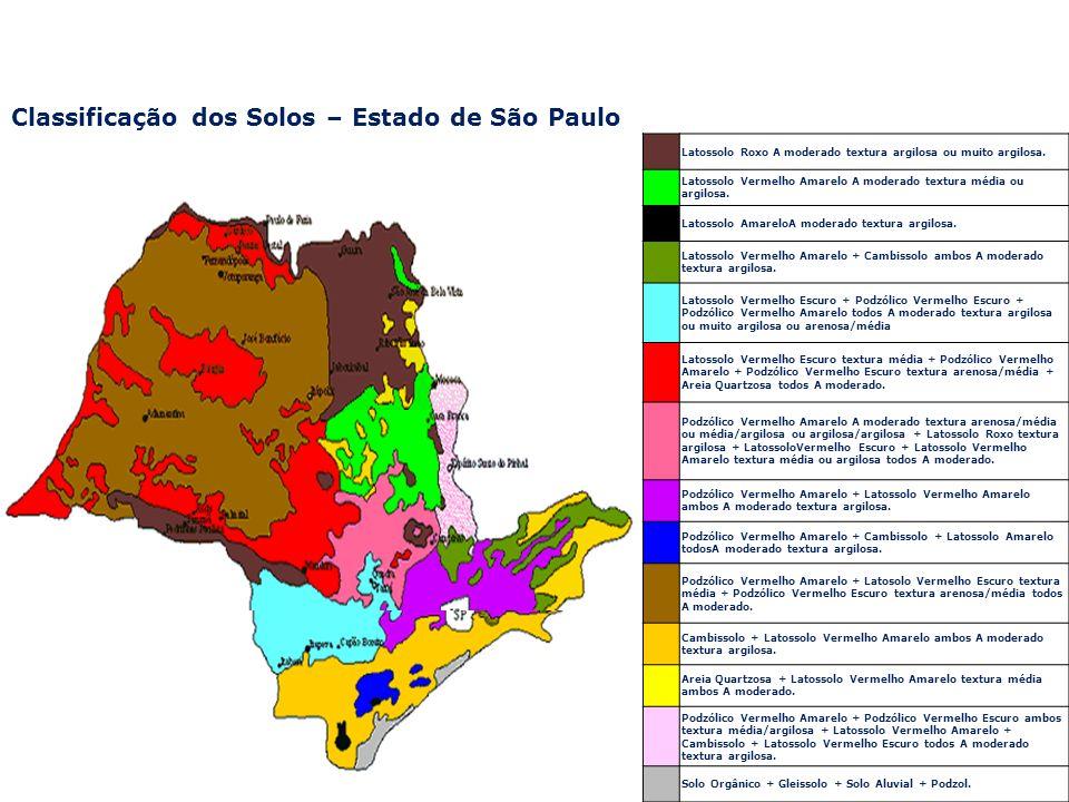 Classificação dos Solos – Estado de São Paulo Latossolo Roxo A moderado textura argilosa ou muito argilosa. Latossolo Vermelho Amarelo A moderado text