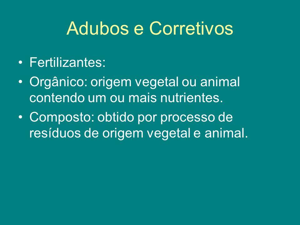 Fertilizantes: Orgânico: origem vegetal ou animal contendo um ou mais nutrientes. Composto: obtido por processo de resíduos de origem vegetal e animal