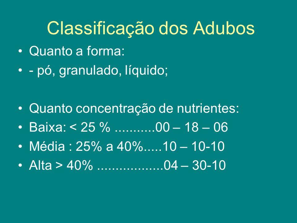 Classificação dos Adubos Quanto a forma: - pó, granulado, líquido; Quanto concentração de nutrientes: Baixa: < 25 %...........00 – 18 – 06 Média : 25%
