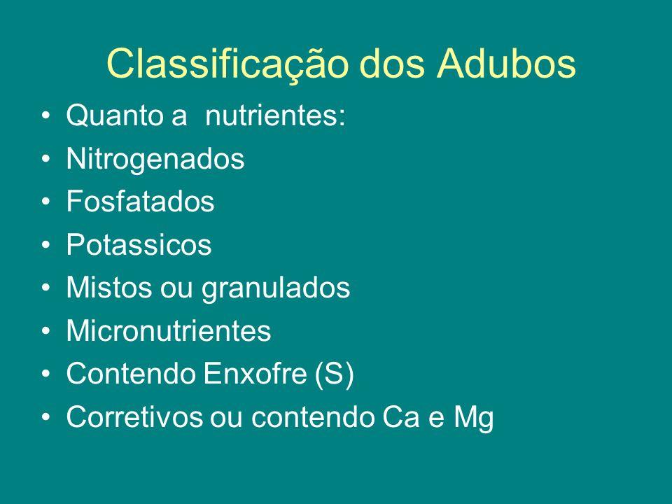 Classificação dos Adubos Quanto a nutrientes: Nitrogenados Fosfatados Potassicos Mistos ou granulados Micronutrientes Contendo Enxofre (S) Corretivos