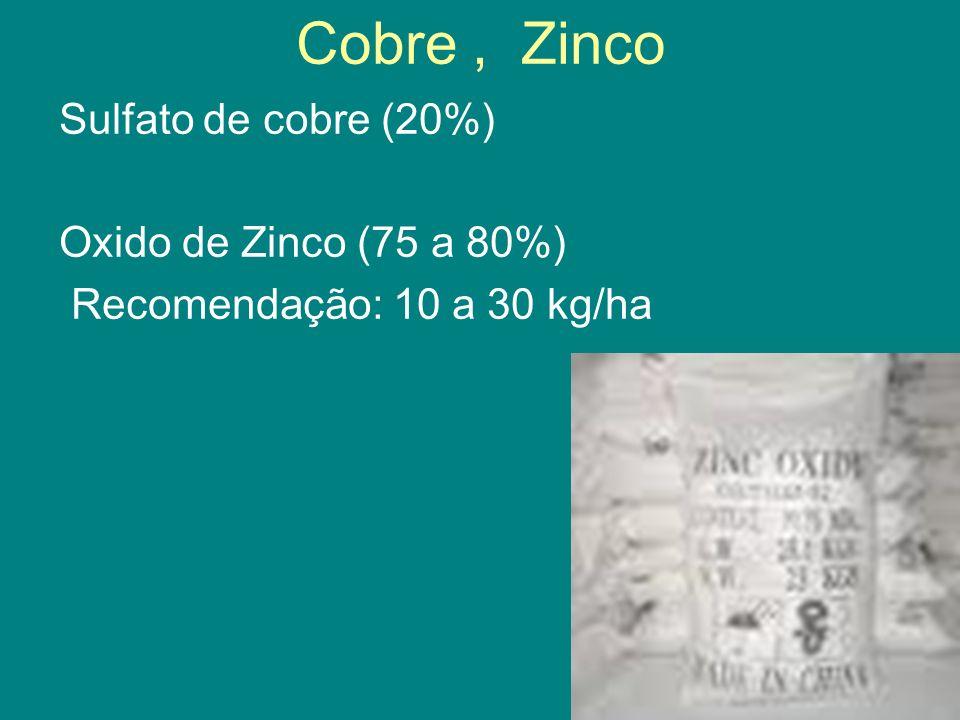 Cobre, Zinco Sulfato de cobre (20%) Oxido de Zinco (75 a 80%) Recomendação: 10 a 30 kg/ha