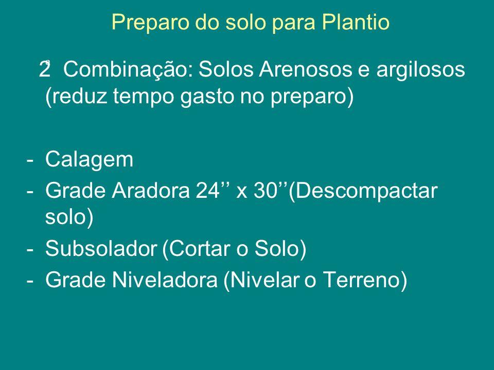 Preparo do solo para Plantio 2 Combinação: Solos Arenosos e argilosos (reduz tempo gasto no preparo) -Calagem -Grade Aradora 24 x 30(Descompactar solo