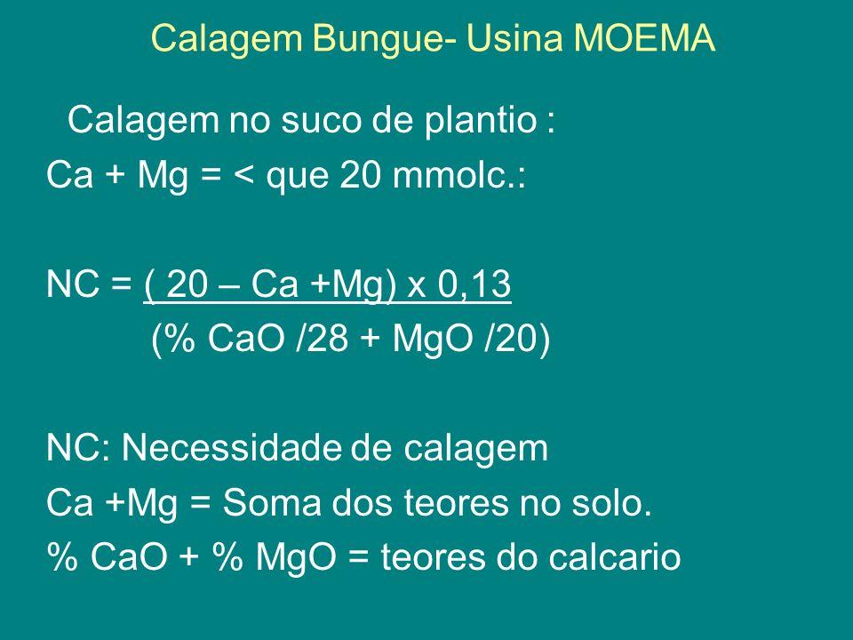 Calagem Bungue- Usina MOEMA Calagem no suco de plantio : Ca + Mg = < que 20 mmolc.: NC = ( 20 – Ca +Mg) x 0,13 (% CaO /28 + MgO /20) NC: Necessidade d
