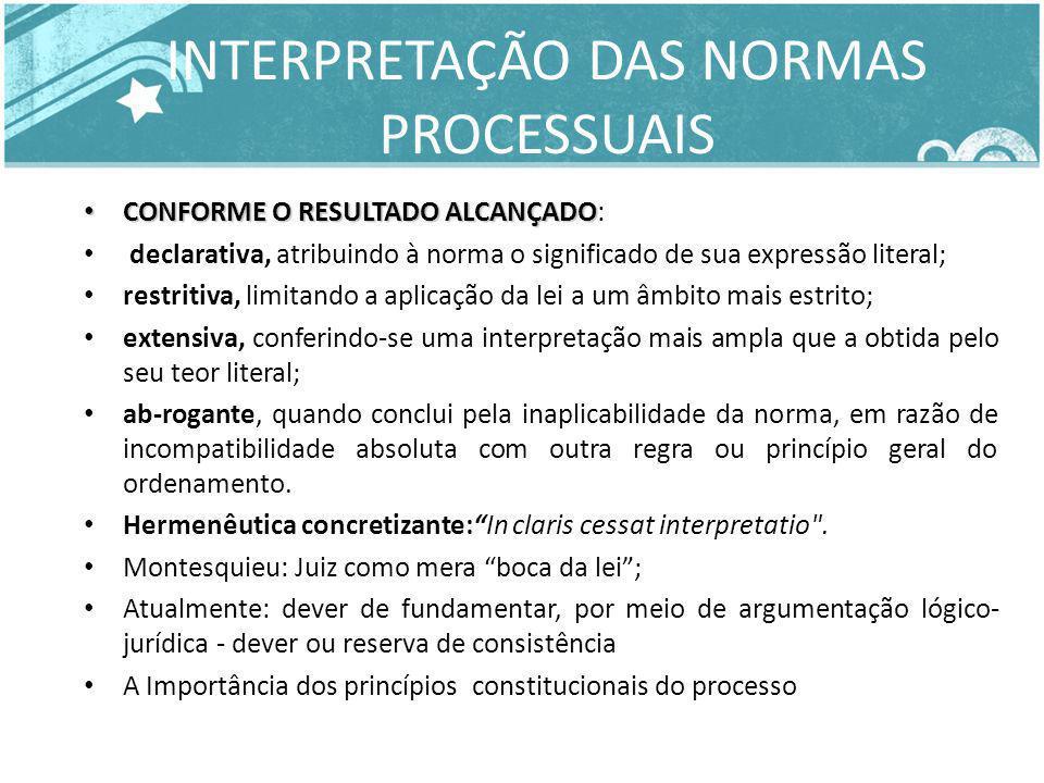 INTERPRETAÇÃO DAS NORMAS PROCESSUAIS CONFORME O RESULTADO ALCANÇADO CONFORME O RESULTADO ALCANÇADO: declarativa, atribuindo à norma o significado de s