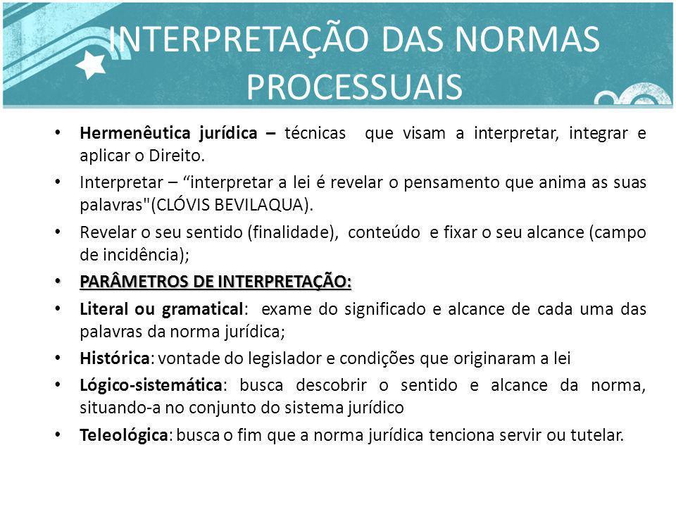 INTERPRETAÇÃO DAS NORMAS PROCESSUAIS Hermenêutica jurídica – técnicas que visam a interpretar, integrar e aplicar o Direito. Interpretar – interpretar
