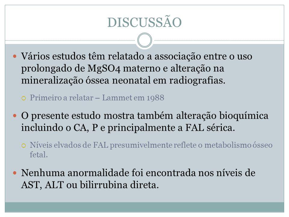 DISCUSSÃO Vários estudos têm relatado a associação entre o uso prolongado de MgSO4 materno e alteração na mineralização óssea neonatal em radiografias
