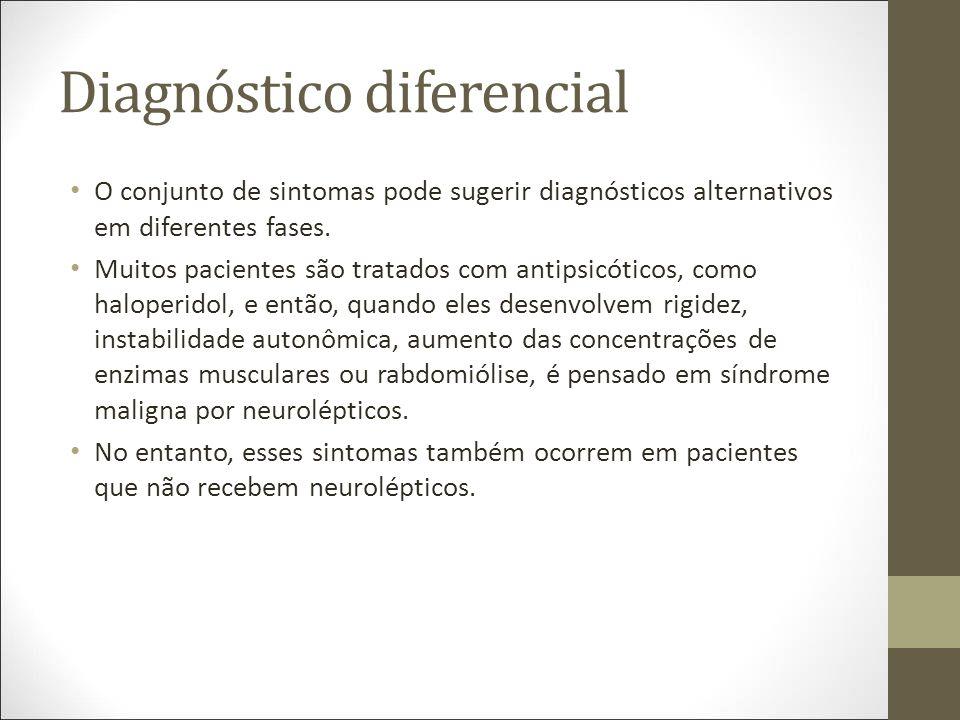 Diagnóstico diferencial O conjunto de sintomas pode sugerir diagnósticos alternativos em diferentes fases.