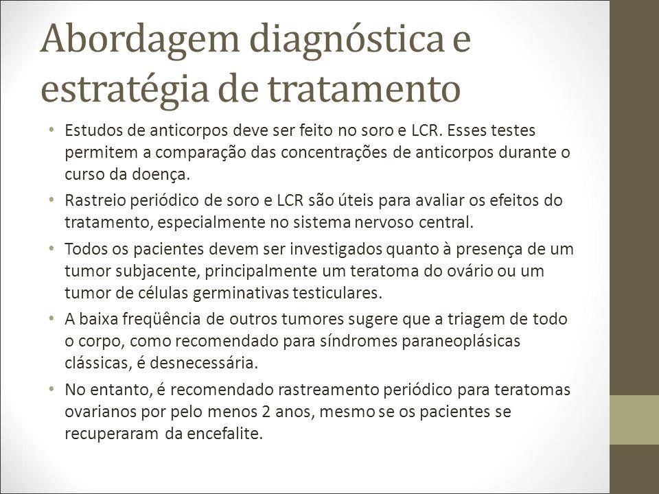 Abordagem diagnóstica e estratégia de tratamento Estudos de anticorpos deve ser feito no soro e LCR.