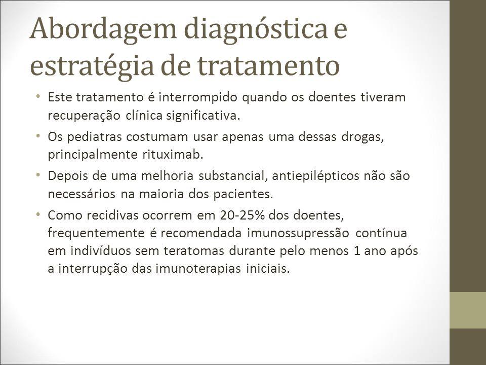 Abordagem diagnóstica e estratégia de tratamento Este tratamento é interrompido quando os doentes tiveram recuperação clínica significativa.