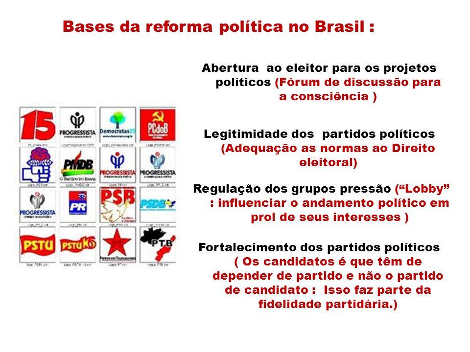 Bases da reforma política no Brasil : Abertura ao eleitor para os projetos políticos (Fórum de discussão para a consciência ) Legitimidade dos partido