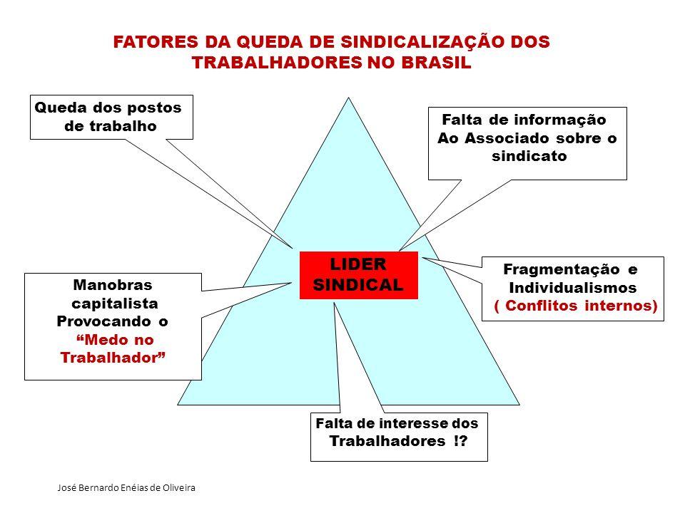 FATORES DA QUEDA DE SINDICALIZAÇÃO DOS TRABALHADORES NO BRASIL LIDER SINDICAL Falta de informação Ao Associado sobre o sindicato Fragmentação e Indivi