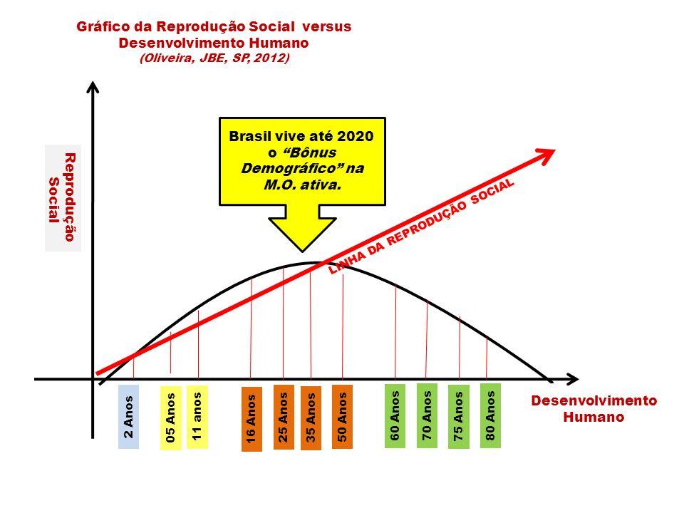 2 Anos 05 Anos 16 Anos 25 Anos 35 Anos 50 Anos 60 Anos 70 Anos 75 Anos 80 Anos Reprodução Social Desenvolvimento Humano Gráfico da Reprodução Social versus Desenvolvimento Humano (Oliveira, JBE, SP, 2012) LINHA DA REPRODUÇÃO SOCIAL 11 anos Brasil vive até 2020 o Bônus Demográfico na M.O.