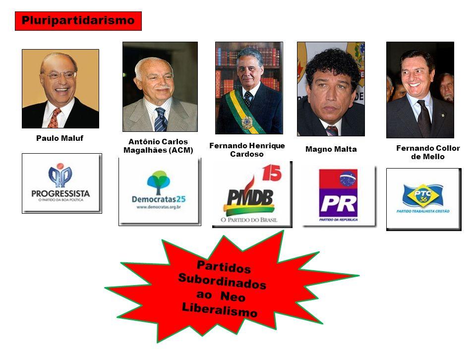 Paulo Maluf Partidos Subordinados ao Neo Liberalismo Antônio Carlos Magalhães (ACM) Fernando Henrique Cardoso Magno Malta Fernando Collor de Mello Plu