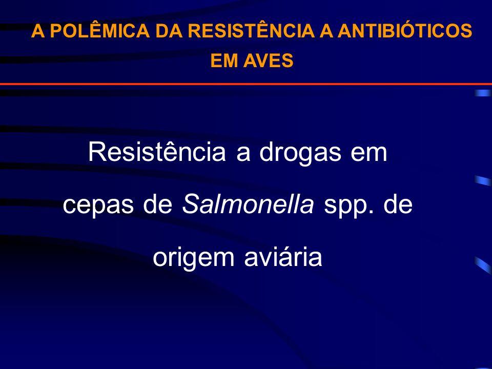 A POLÊMICA DA RESISTÊNCIA A ANTIBIÓTICOS EM AVES Resistência a drogas em cepas de Salmonella spp. de origem aviária
