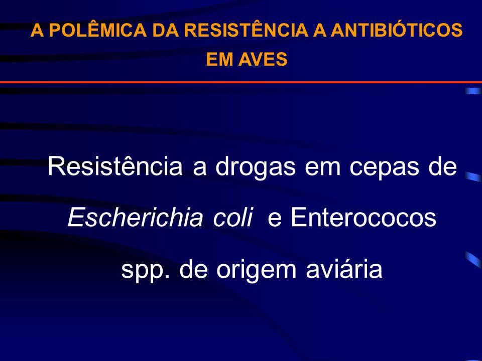 A POLÊMICA DA RESISTÊNCIA A ANTIBIÓTICOS EM AVES Resistência a drogas em cepas de Escherichia coli e Enterococos spp. de origem aviária