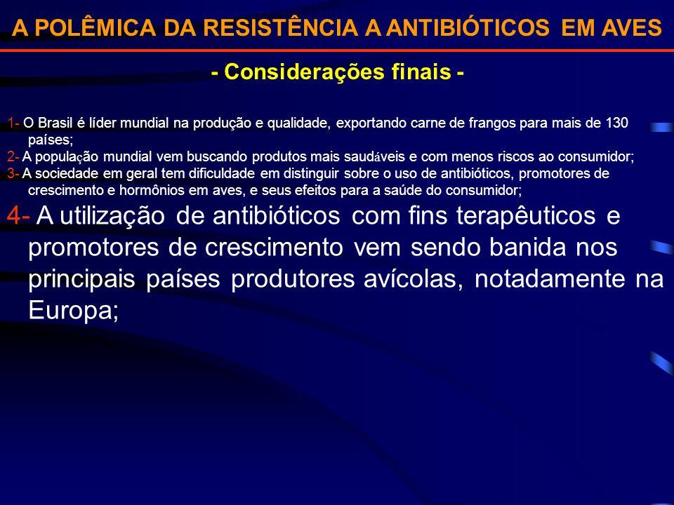 A POLÊMICA DA RESISTÊNCIA A ANTIBIÓTICOS EM AVES - Considerações finais - 1- O Brasil é líder mundial na produção e qualidade, exportando carne de fra