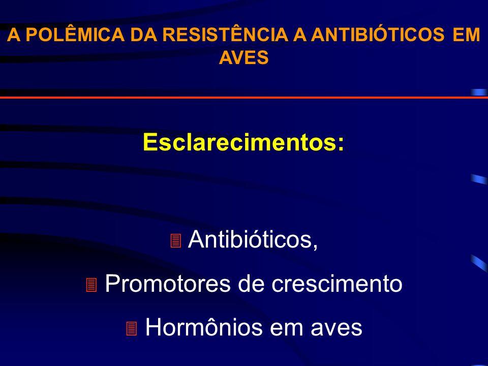 A POLÊMICA DA RESISTÊNCIA A ANTIBIÓTICOS EM AVES Esclarecimentos: Antibióticos, Promotores de crescimento Hormônios em aves