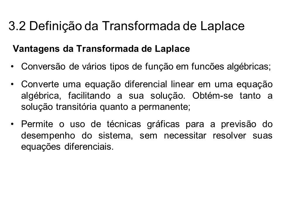 Vantagens da Transformada de Laplace Converte uma equação diferencial linear em uma equação algébrica, facilitando a sua solução. Obtém-se tanto a sol