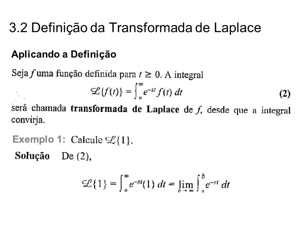 Aplicando a Definição Exemplo 1: 3.2 Definição da Transformada de Laplace