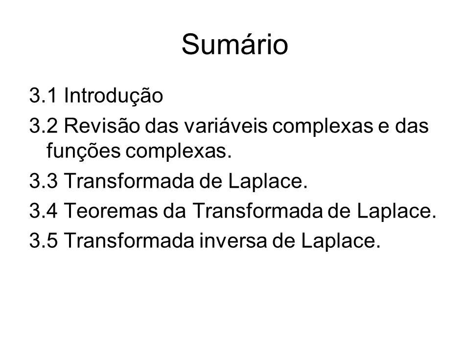 Sumário 3.1 Introdução 3.2 Revisão das variáveis complexas e das funções complexas. 3.3 Transformada de Laplace. 3.4 Teoremas da Transformada de Lapla