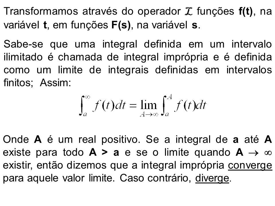 Transformamos através do operador L funções f(t), na variável t, em funções F(s), na variável s. Sabe-se que uma integral definida em um intervalo ili