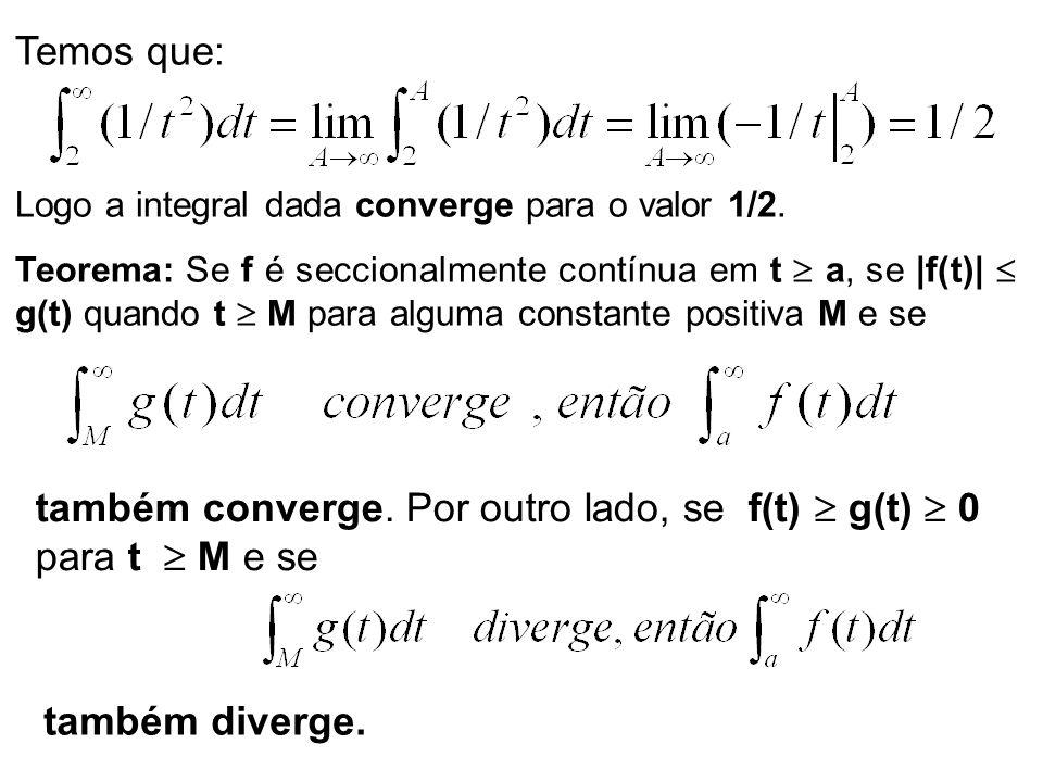 Temos que: Logo a integral dada converge para o valor 1/2. Teorema: Se f é seccionalmente contínua em t a, se |f(t)| g(t) quando t M para alguma const
