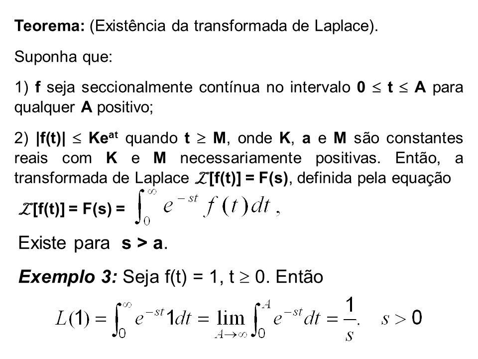 Teorema: (Existência da transformada de Laplace). Suponha que: 1) f seja seccionalmente contínua no intervalo 0 t A para qualquer A positivo; 2) |f(t)
