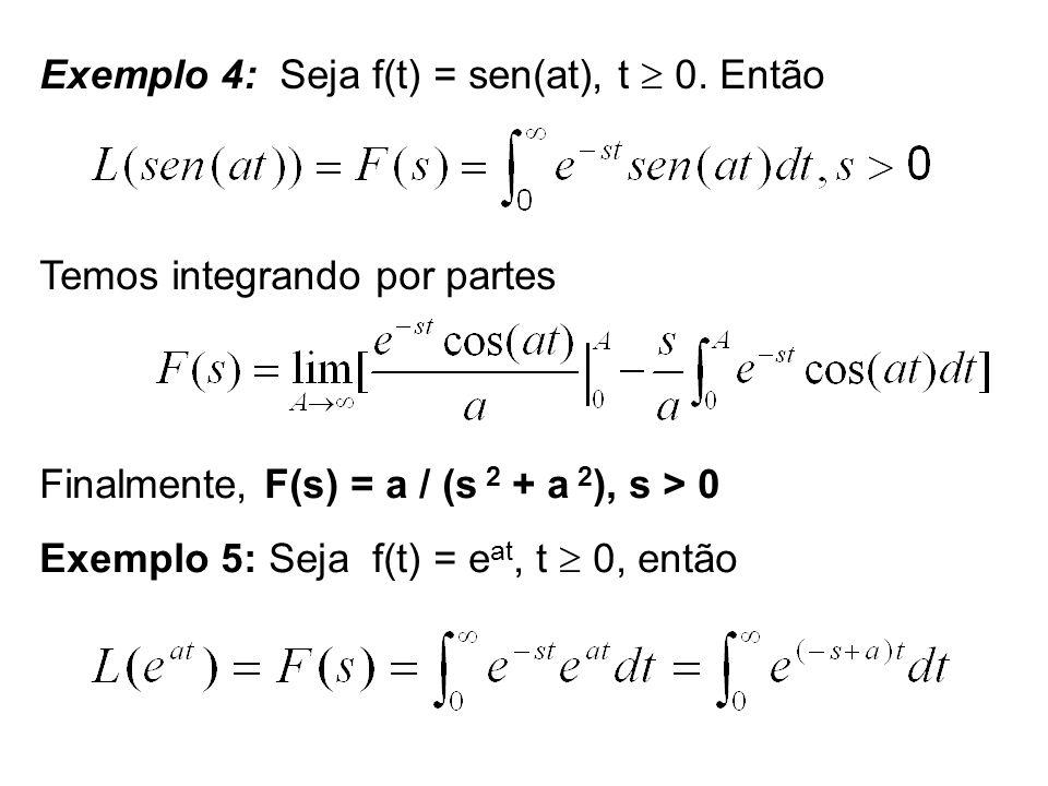 Exemplo 4: Seja f(t) = sen(at), t 0. Então Temos integrando por partes Finalmente, F(s) = a / (s 2 + a 2 ), s > 0 Exemplo 5: Seja f(t) = e at, t 0, en